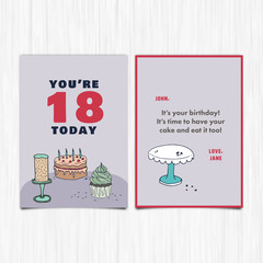 Happy birthday 18th years greeting card / Vector icon of happy birthday 18th years greeting card