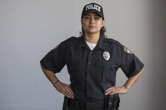 Portrait of a Hispanic female police officer