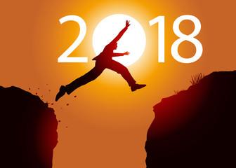 2018 - carte de vœux - challenge - entreprise - défi - sauter - objectif - homme d'affaire
