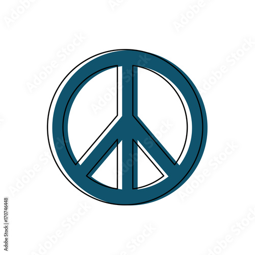Hippie Peace Love Circle Button Element Symbol Vector Illustration