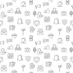 Social media icons seamless background. Internet web icons background. Talk, speech, share, security. Social internet communication. Vector illustration
