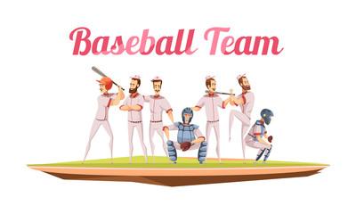 Baseball Team Retro Cartoon Composition
