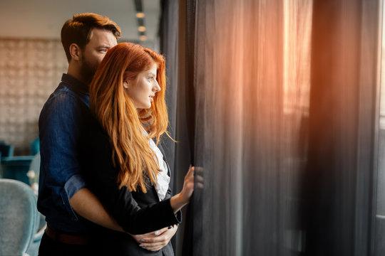 Romantic couple enjoying sunset