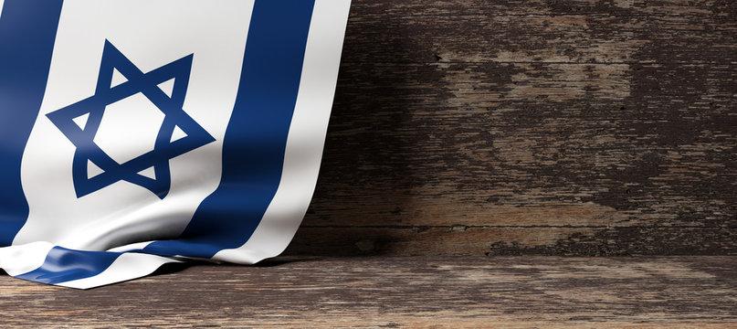 Israel flag on wooden background. 3d illustration