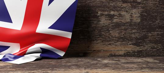 United Kingdom flag on wooden background. 3d illustration