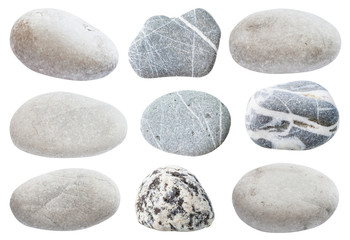 set of various gray natural sea pebble stones
