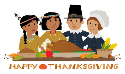 Happy Thanksgiving Pilgrim - Thanksgiving sign with pilgrims and natives standing around a holiday table. Eps10