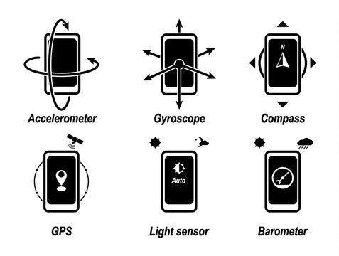 Accelerometer, gyroscope, compass, GPS, light sensor, barometer. Important phone functions. Black icon.