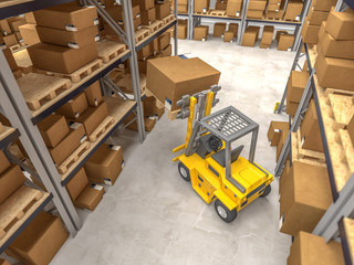 classic warehouse and forklift