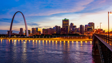 St Louis, Missouri Skyline and Gateway Arch at Night (logos removed)