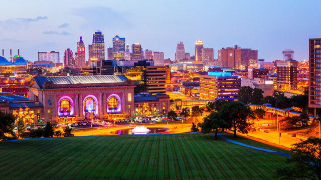 Kansas City, Missouri Skyline at Night (logos blurred)