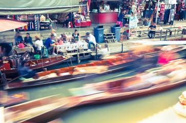 Damnoen Saduak Floating Market Near Bangkok, Thailand (people/logos blurred)