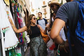People on ethnic bazaar
