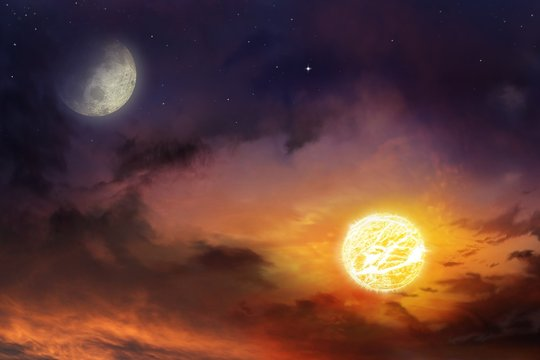 Sun in space . Moon sun and stars  .  Nebula gas cloud in outer space . Light in dark sky . beautiful cloud . View on night sky  . Moon eclipse  .Religion background .