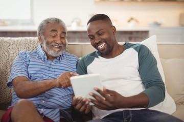 Smiling father and son using digital tablet in living room