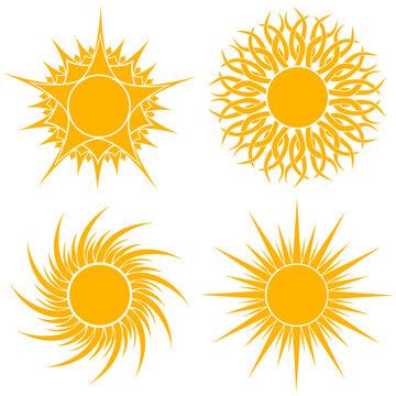 Yellow stylized sun shapes