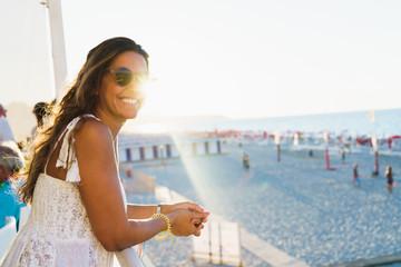Woman enjoying beach view