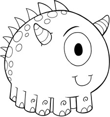 Foto auf Acrylglas Cartoon draw Cute Monster Vector Illustration Art