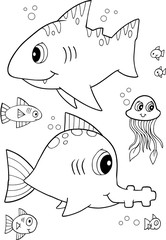 Cute Shark Fish Vector Illustration Art