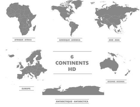Cartes des 6 continents en haute définitions
