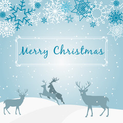 Merry Christmas - blue christmas background - snow - deer - snowflake