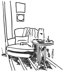 Hand drawn room interior. Chair and table.