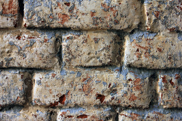 high quality texture of oldest painted brick masonry closeup