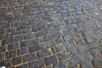 dark grey granite cobblestones on Red square in Moscow