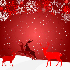 red christmas background - snow - deer - snowflake