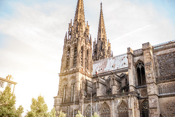 Close-up view on the gothic cathedral in Clermont-Ferrand city in central France Wall mural