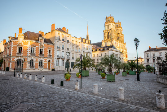 Sunset view on the old town with saint Croix cathedral in Orleans city in France
