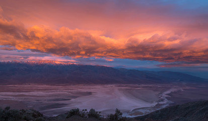 Dramatic sunrise landscape in Death Valley