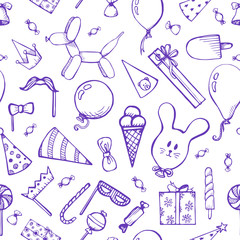 Seamless pattern with festive attributes. Inflatable balls, gifts, sweets. Design for any holiday or party.Vector illustration of a sketch style.