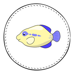 Tropical fish Triggerfish isolated on white background. Cute coral fish cartoon vector illustration.
