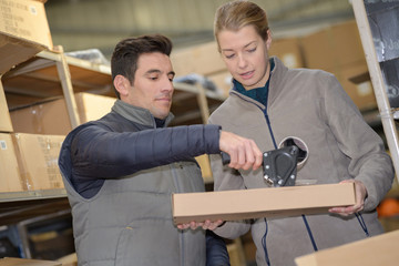 manager with worker in a warehouse