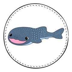 Whale shark isolated on white background. Friendly shark cartoon vector illustration.