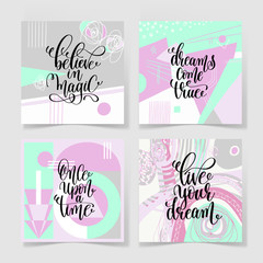 set of four square posters hand lettering positive quote