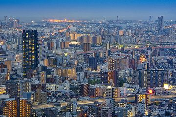 Top view city night view landscape of Osaka,Japan