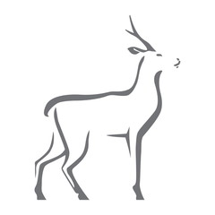 Roe deer vector image, isolated on white background. Stylized silhouette as logo or mascot..