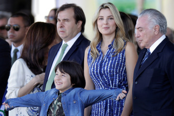 Brazil's President Michel Temer and his wife, Marcela Temer, with their son Michel, during a parade celebrating the country's Independence Day in Brasilia