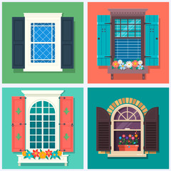 Set of detailed various colorful windows with windowsills, shutters, curtains, and flowerspot Vector illustration