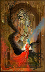 Celtic fantasy. Oil painting on wood. Portrait of beautiful fairy with deer in the fantastic Breton environment.