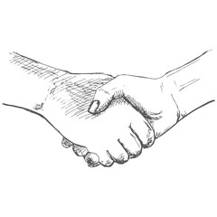 Two hands, handshake. Illustration in sketch style. Hand drawn vector illustrations.