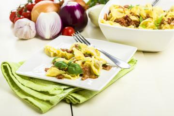 Tortellini dumplings with ham