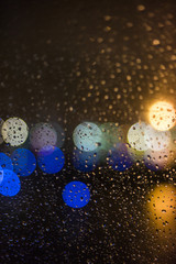 Out of focus lights on a rainy night.