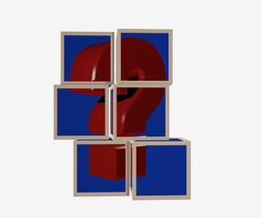 Puzzle aus Würfeln, die ein Fragezeichen darstellen.