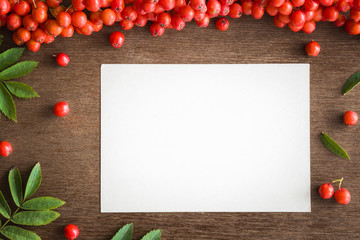 Search photos happy birthday card white blank autumn greeting card with fresh rowan berries on the brown wooden table medical bookmarktalkfo Choice Image