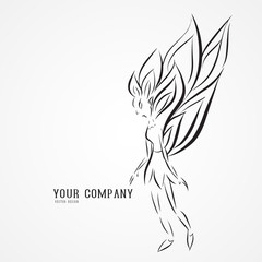 Angel butterfly logo vector illustration, queen, drawing outline