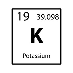 Potassium periodic table element color icon on white background vector