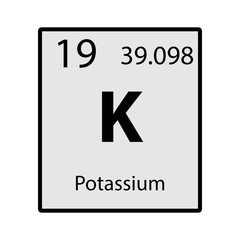 Potassium periodic table element gray icon on white background vector